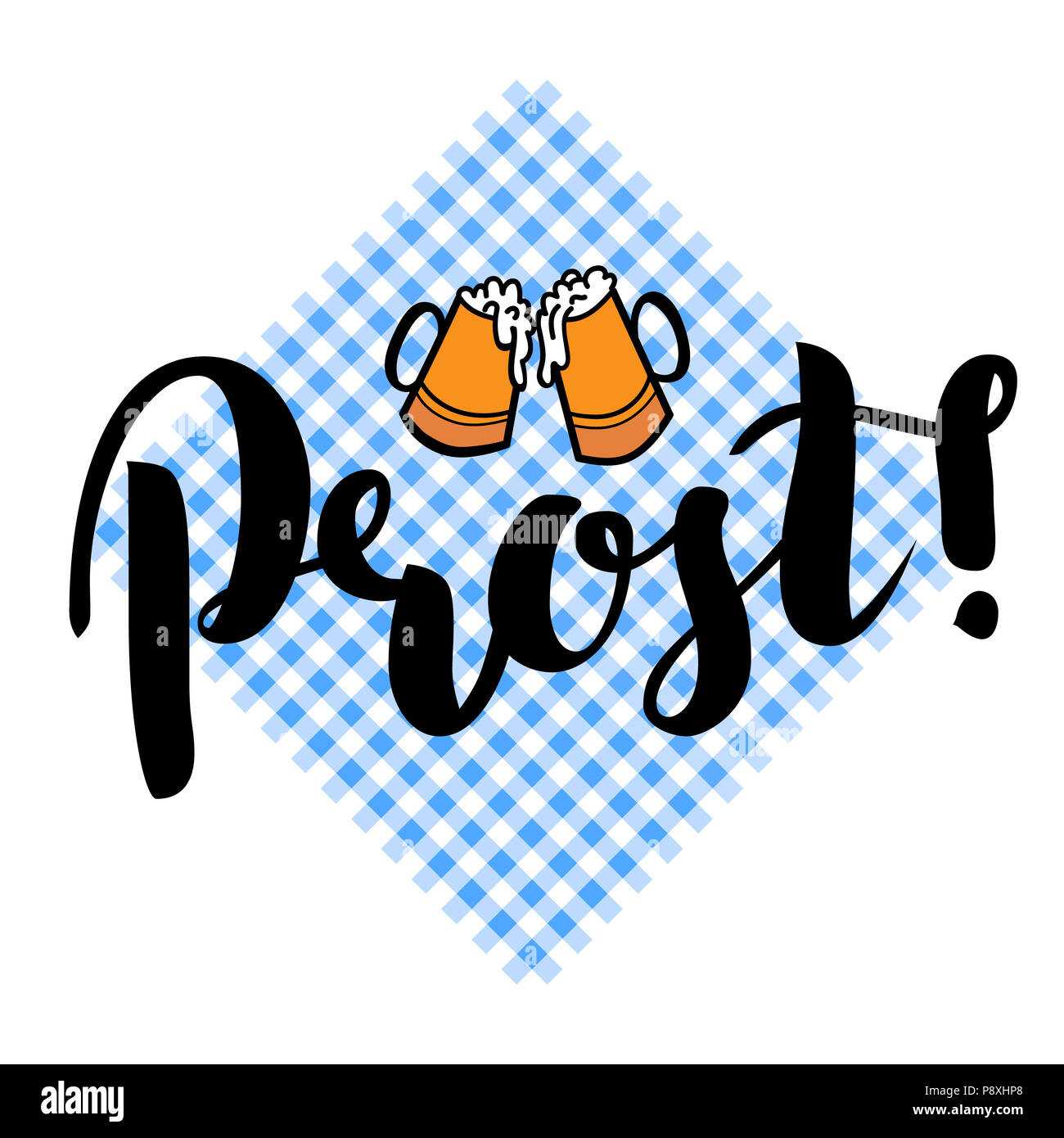 Traditional German Oktoberfest bier festival with text Prost Cheers and two biers.  lettering illustration isolated on white - Stock Image