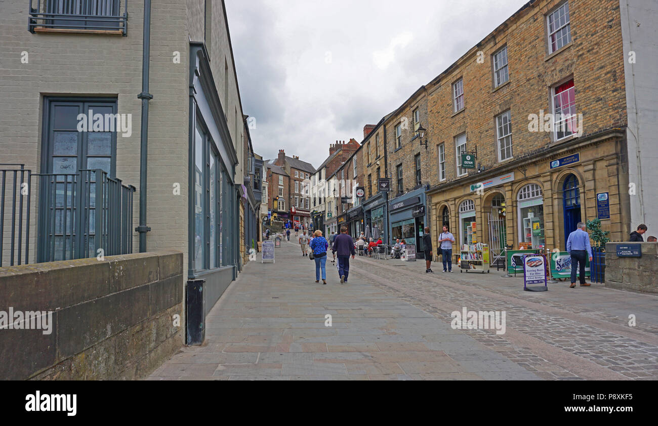 Durham City England Old Elvet Shops And Tourists Stock Photo