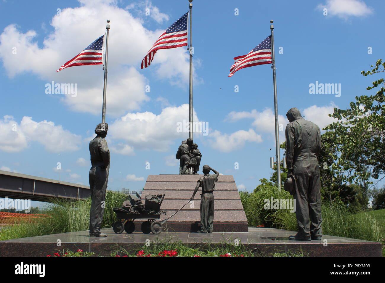 War memorial, Heartland of America Park, Omaha, Nebraska Stock Photo