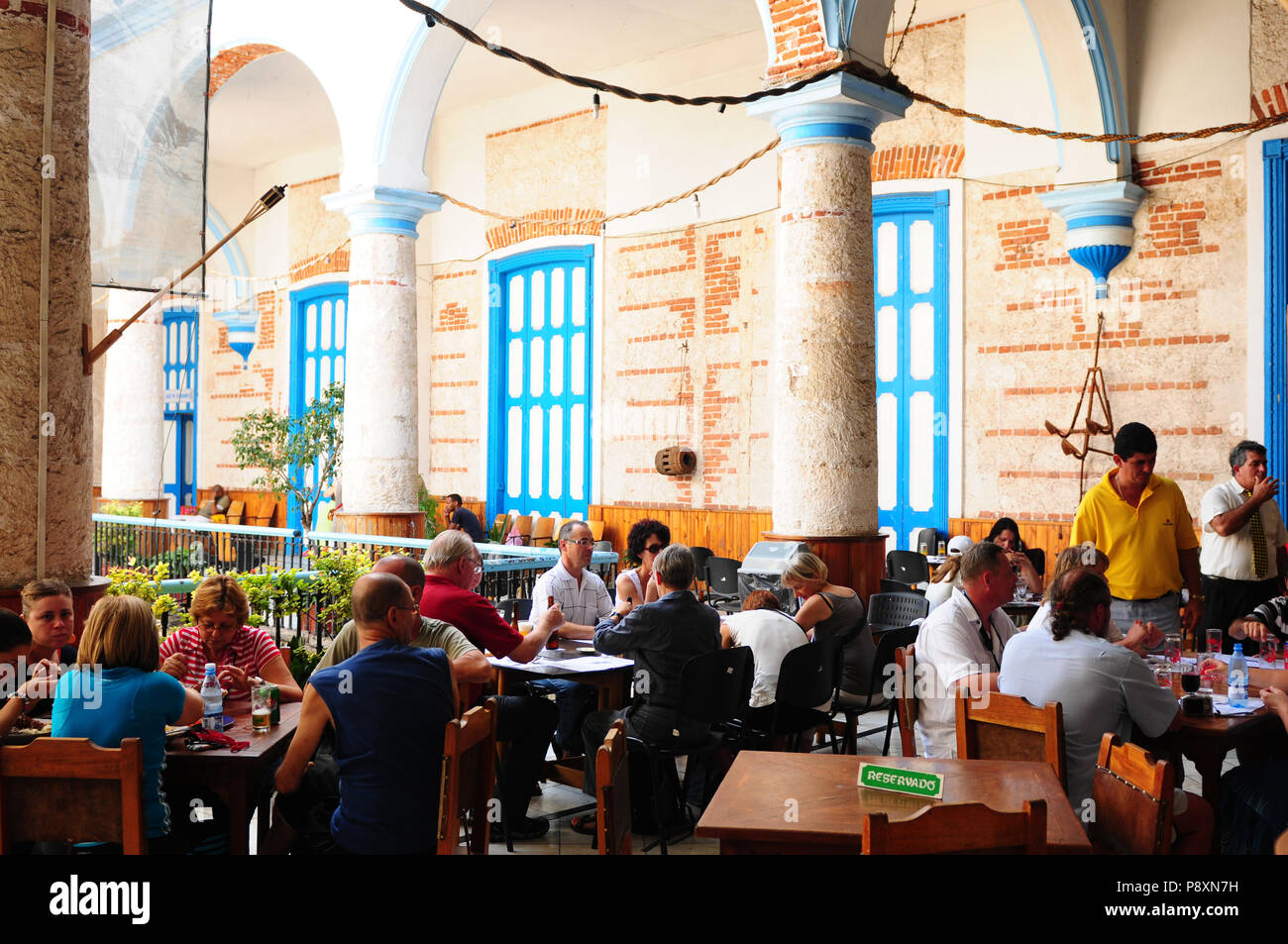 "Cuba: Restaurant at the ""Casa de la Musica"" in Havanna-City - a former castro residenz Stock Photo"