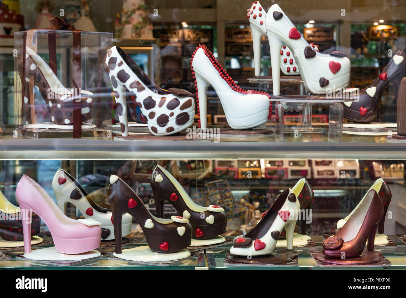Chocolate shoes on display in Agapitos Patisserie in, Thessaloniki Macedonia, Northern Greece - Stock Image