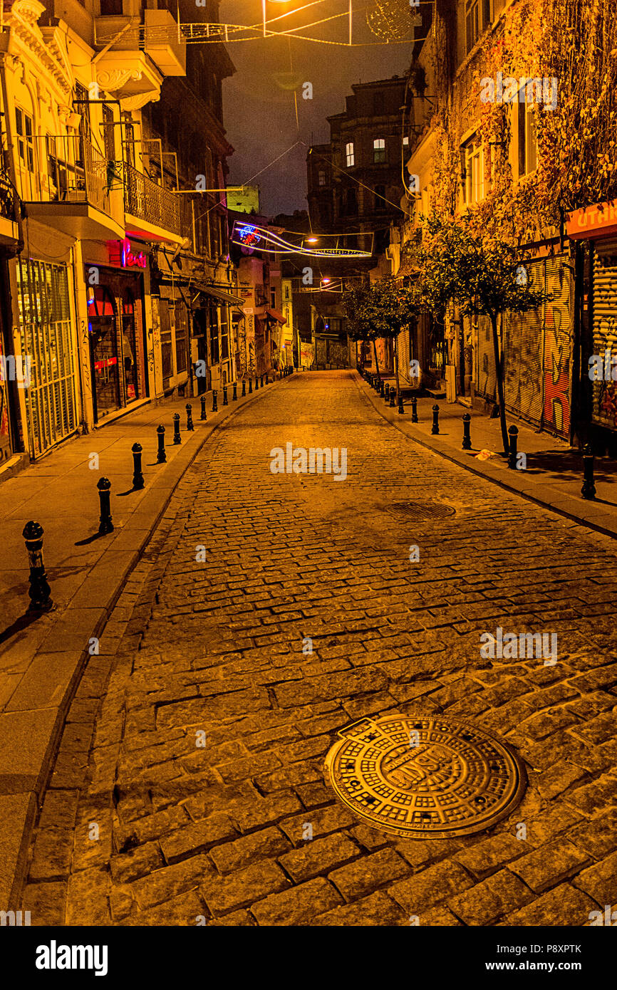Galip Dede Caddesi (Road) in Galata, between Istiklal Street and the Galata Tower - Stock Image