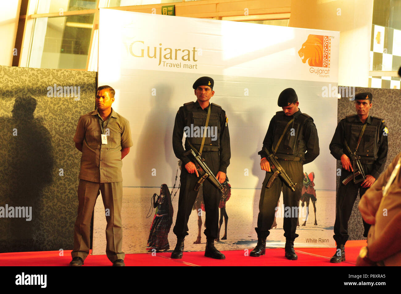 Security for Gujarat's Prime Minister Modi Nahrendi and the other ministers at Gujarat Travel Mart in Ahmedabad - Stock Image