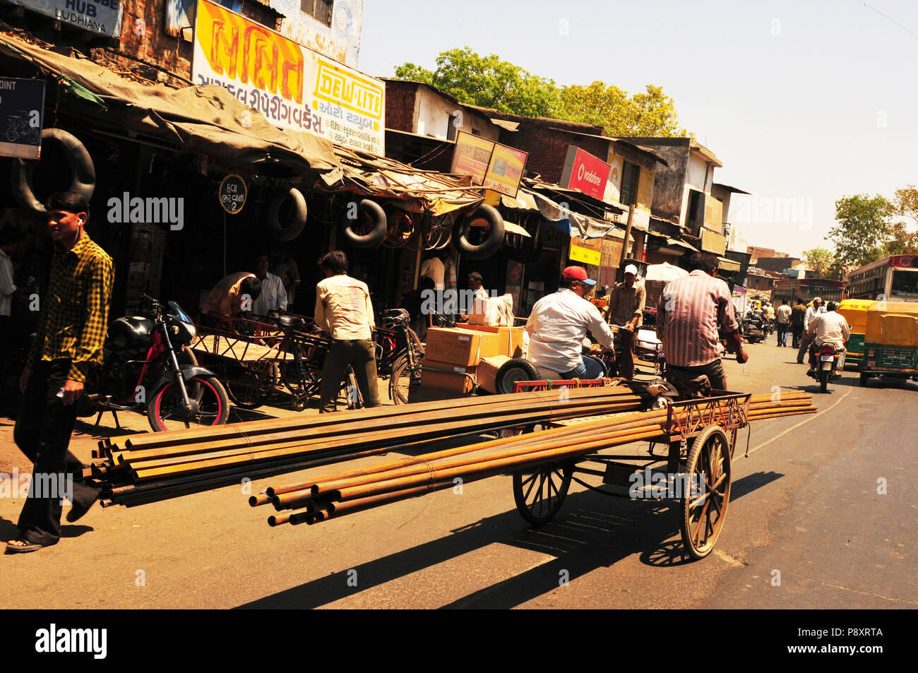 Iron-transport, carried on a bicycle through the streets of Ahmedabad-City in Gujarat; - Stock Image