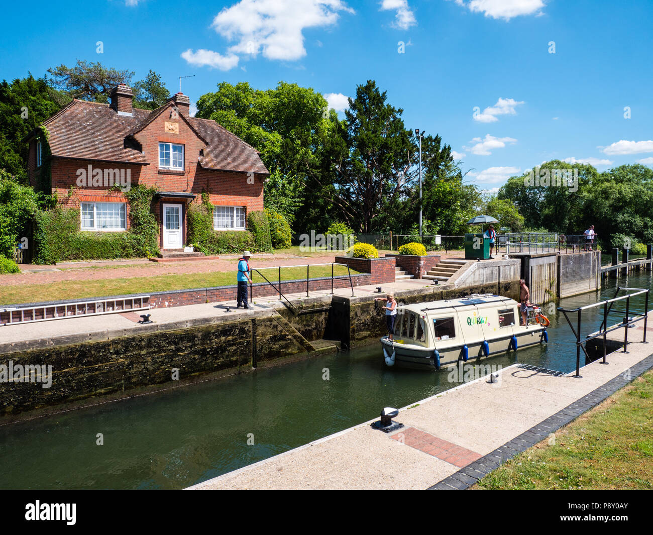 Quirky Boat Using, Hambleden Lock and Weir, River Thames, Berkshire, England, UK, GB. - Stock Image