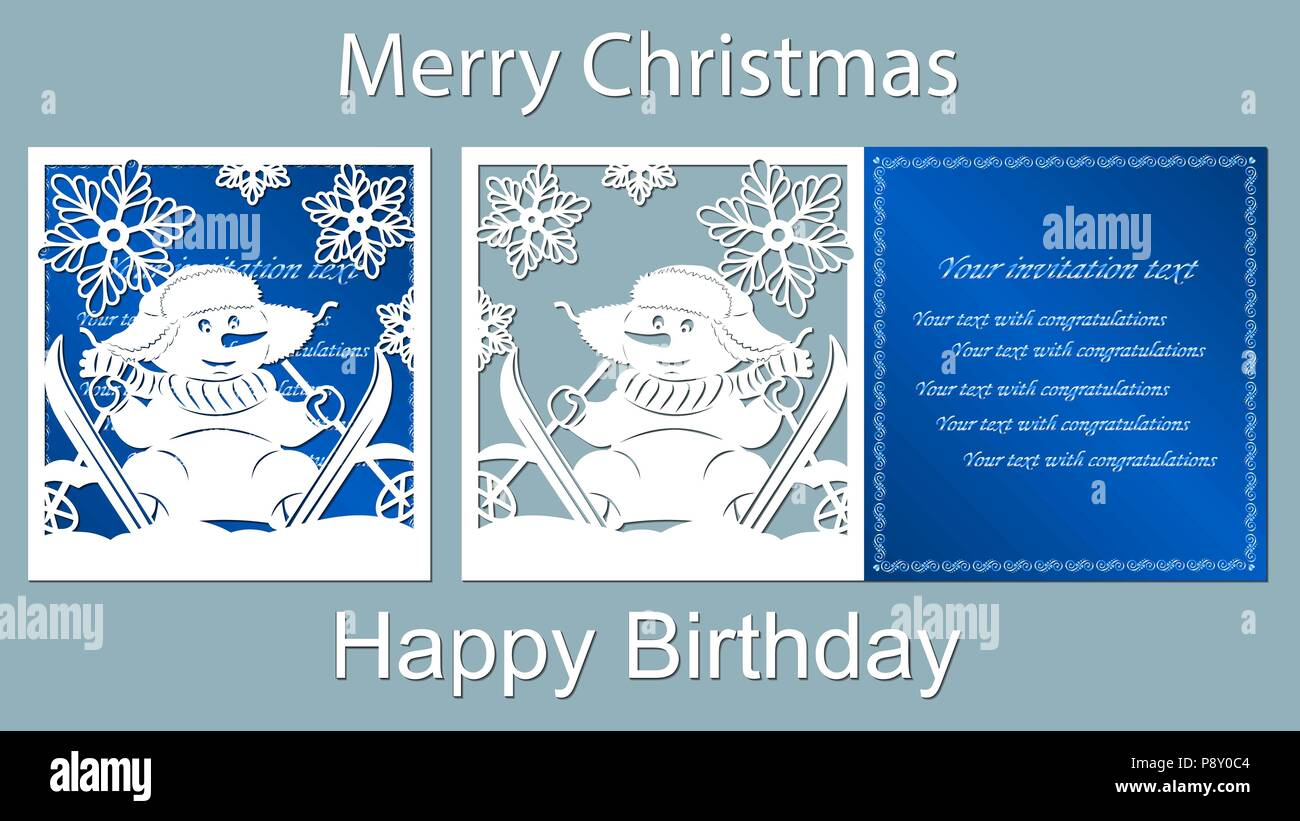 text merry christmas happy birthday snowman laser cutting snow vector card skis blue carrot snowflake - Merry Christmas And Happy Birthday