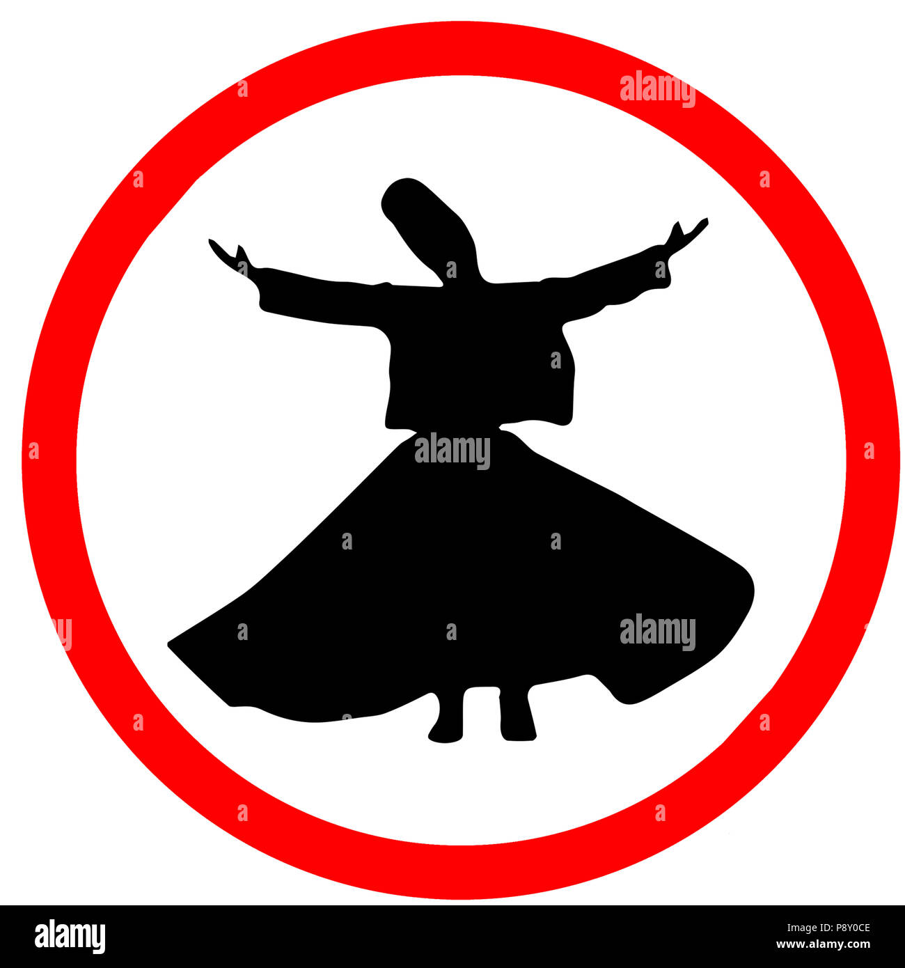 Whirling Dervishes Ceremony caution warning red triangular road sign isolated on white background. - Stock Image