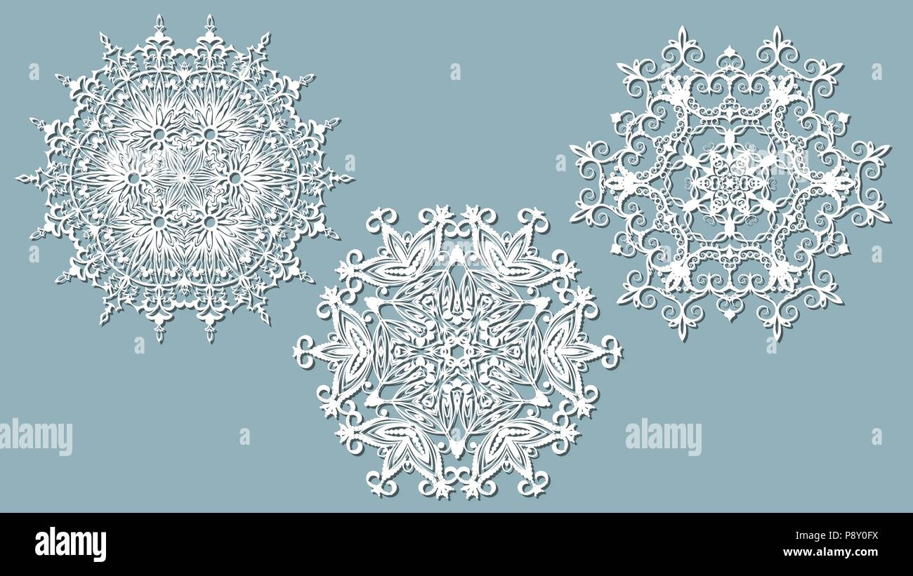 set of snowflakes laser cut pattern for christmas paper cards
