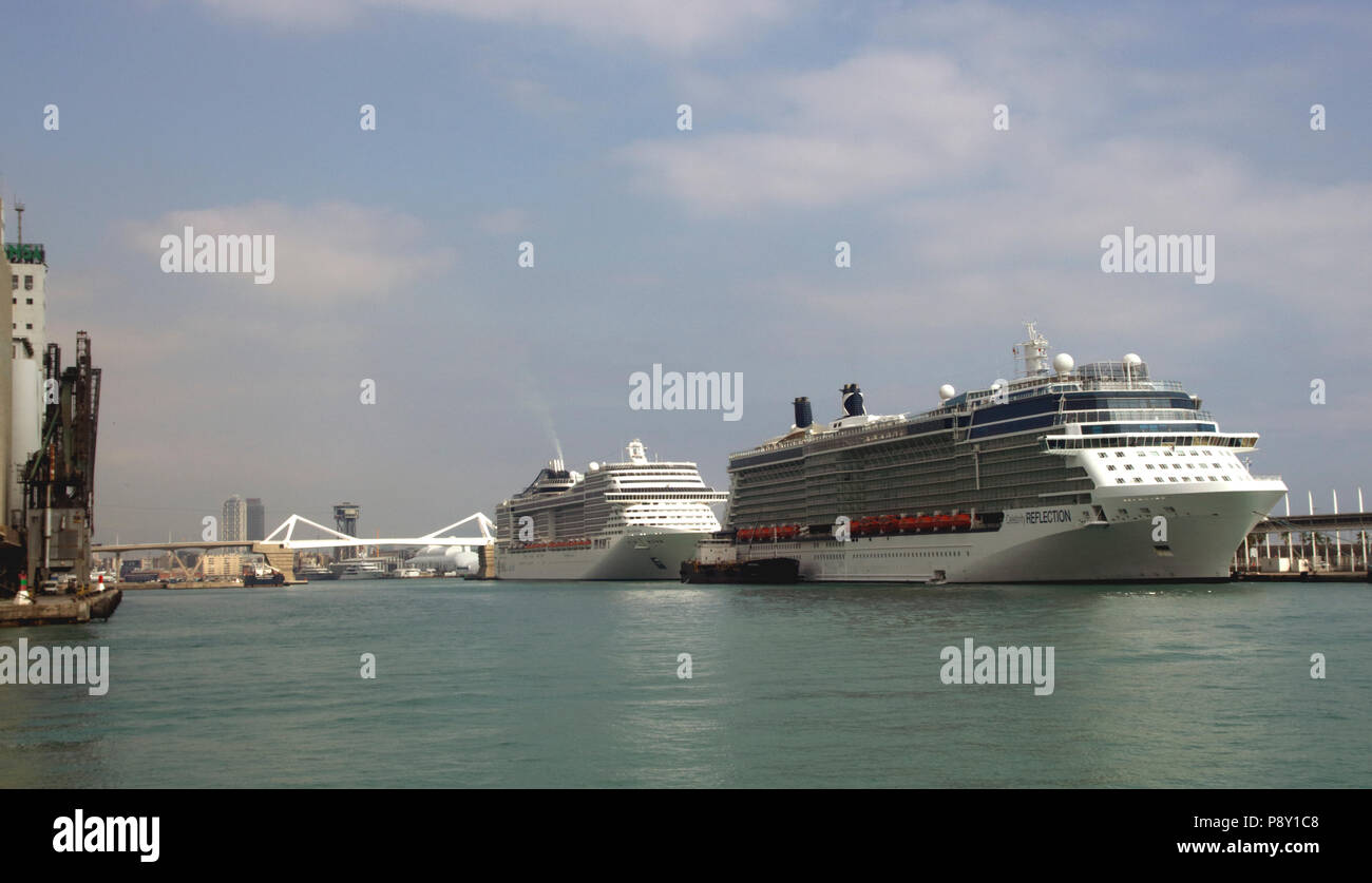 Cruise Liners docked at Barcelona Port October 2017 - Stock Image