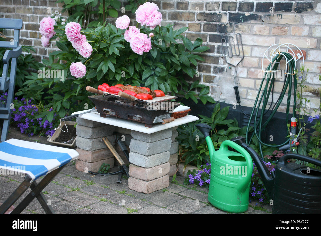 GRILLING out on the backyard  2012 - Stock Image