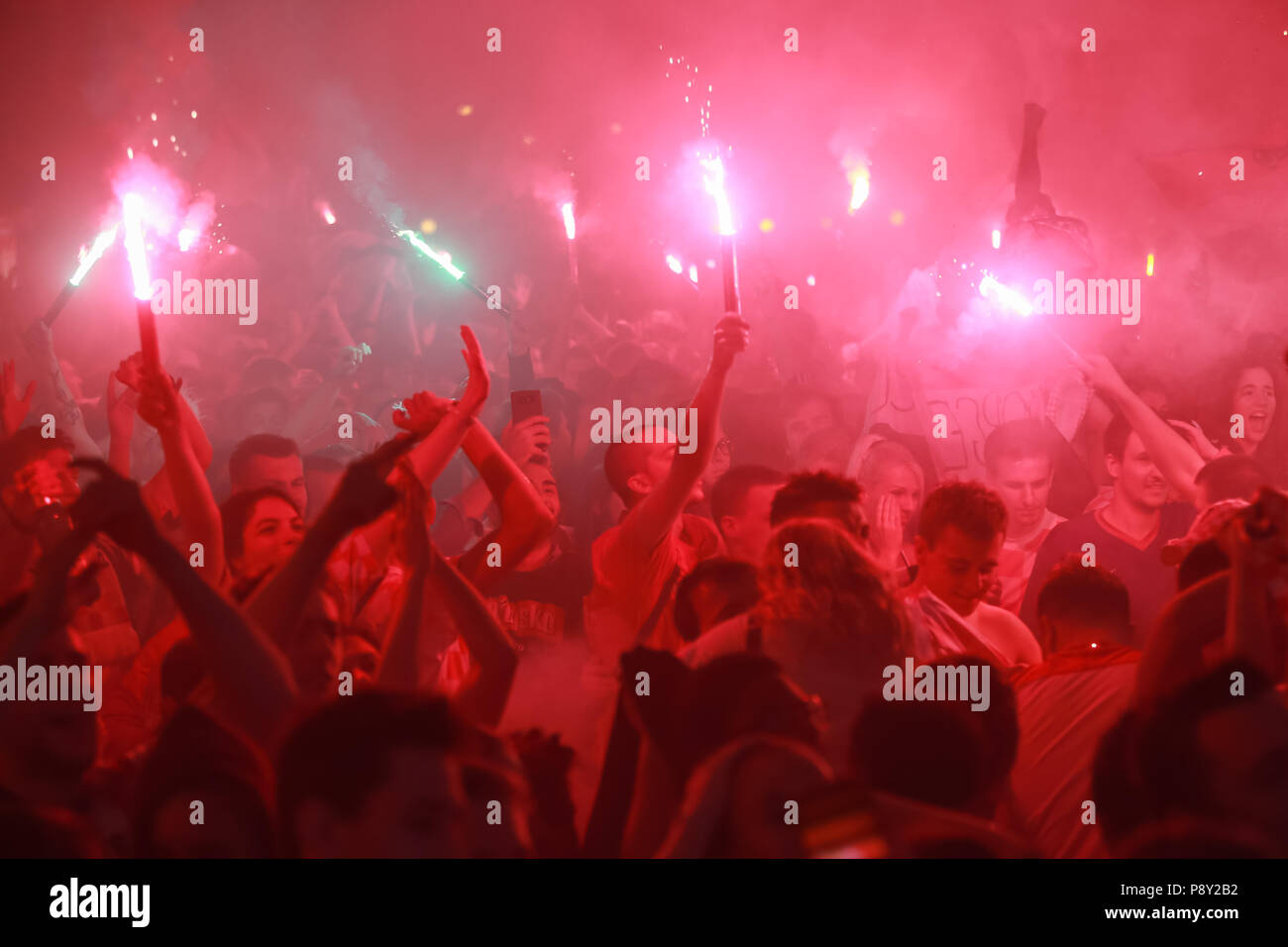 ZAGREB, CROATIA - JULY 11, 2018 : Croatian football fans