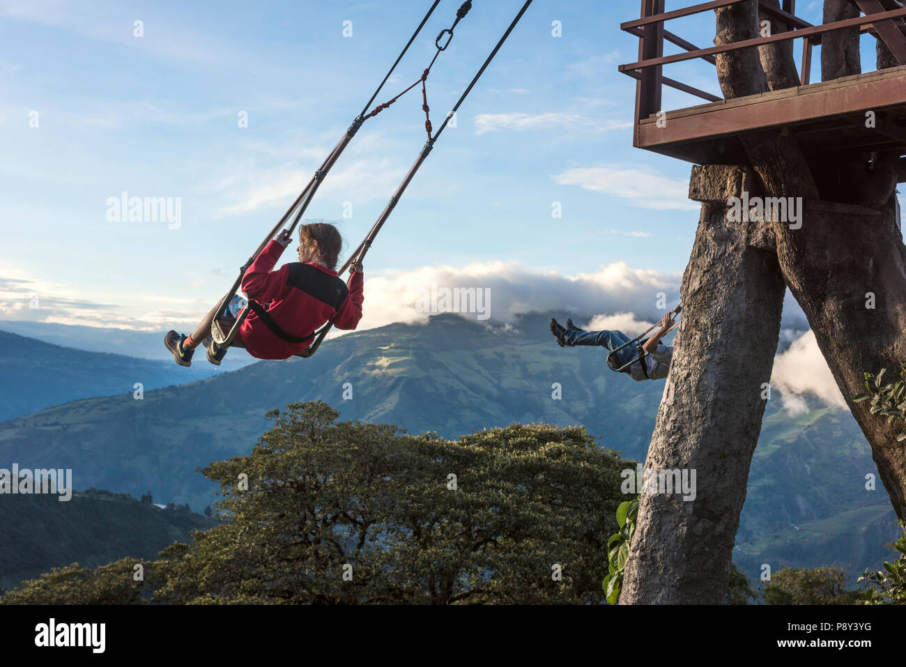 Banos, Ecuador - November 22, 2017: The Swing At The End Of The World Located At Casa Del Arbol, The Tree House In Banos De Aqua Santa, Ecuador, South - Stock Image