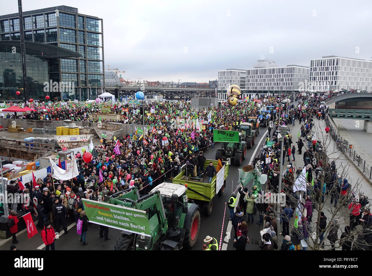 Berlin, Germany, Demo - We are sick of it! in front of the main station on the Washingtonplatz - Stock Image