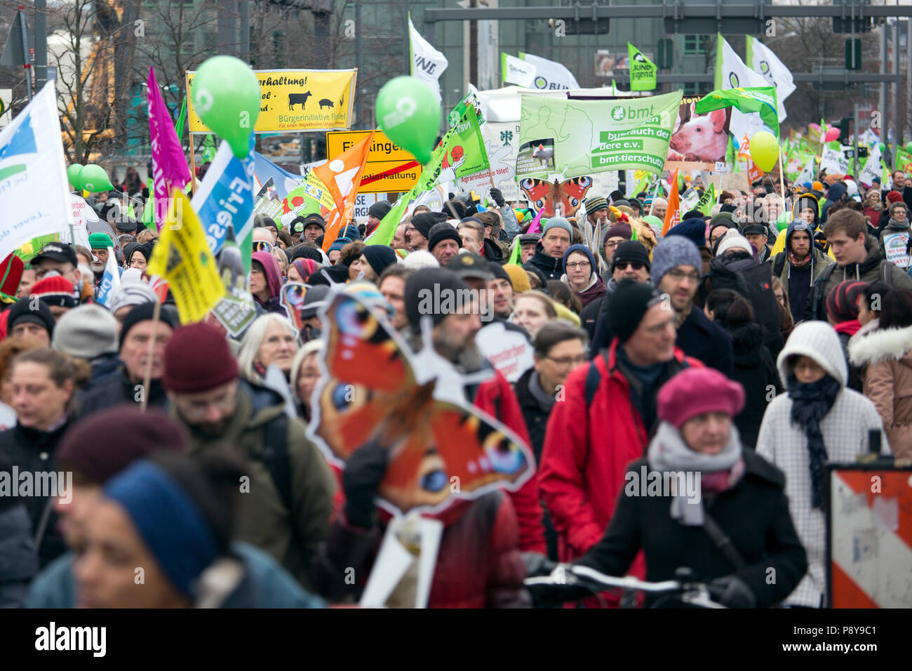Berlin, Germany, people protesting at the demo - we are sick of it! against industrial agriculture and bee mortality. - Stock Image