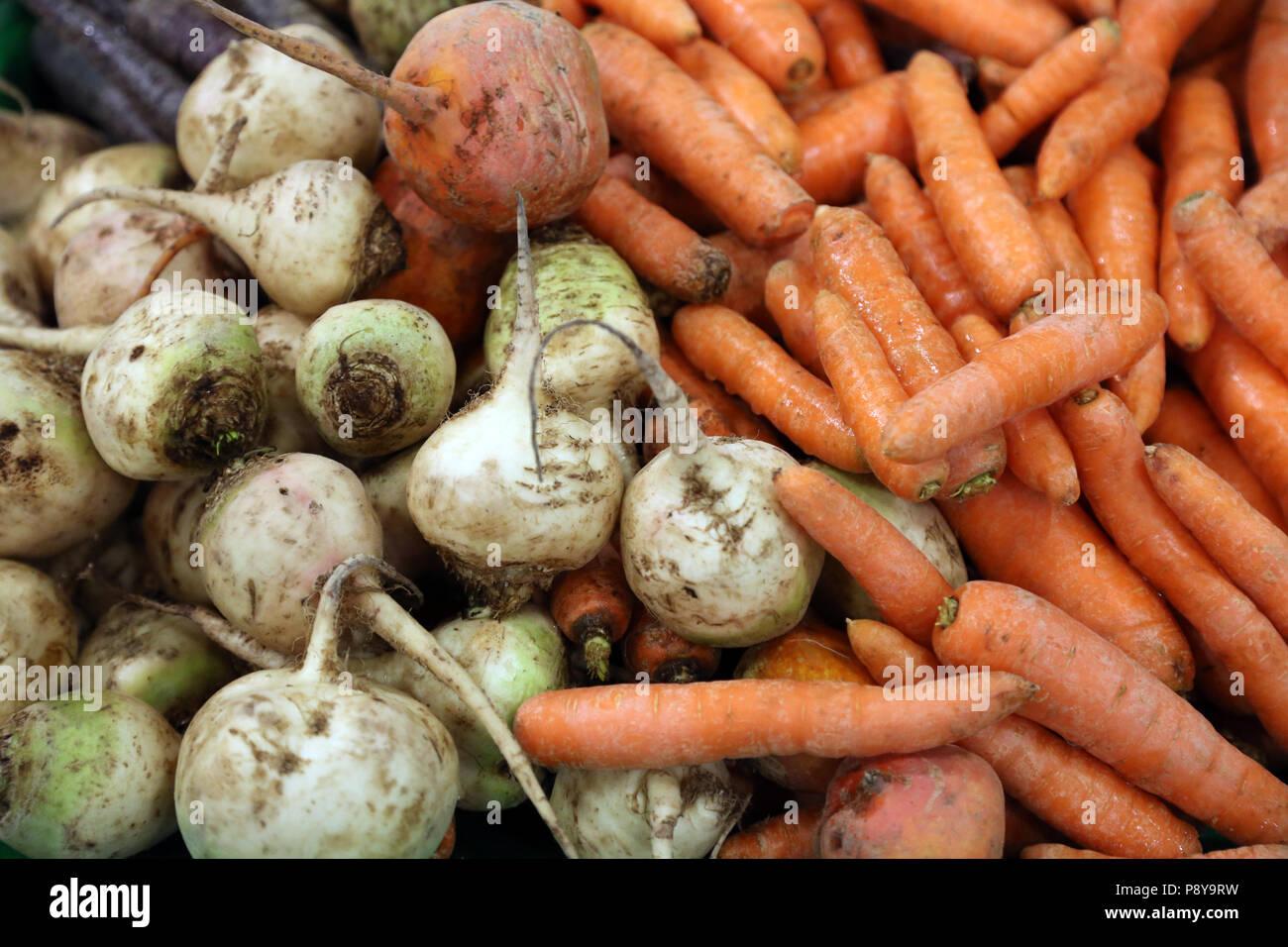 Berlin, Germany, carrots and escalopes Stock Photo