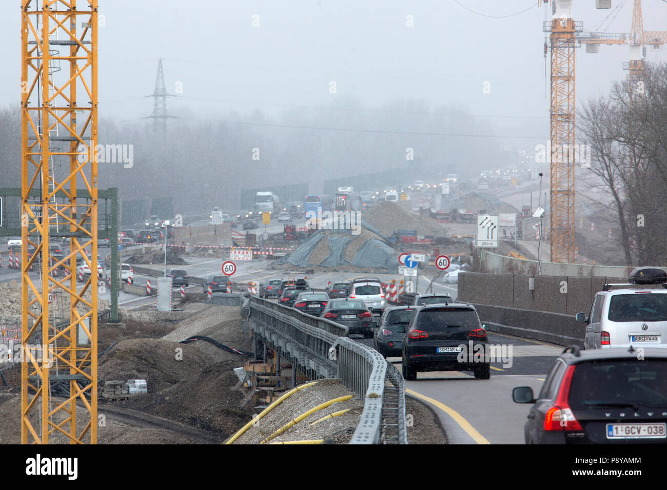 Muenchen, Germany, road construction site on the A8 motorway - Stock Image