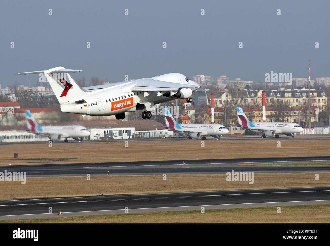 Berlin, Germany, British Aerospace 146-200 of the WDL Aviation leased by the airline easyJet at the start of the airport Berlin-Tegel - Stock Image
