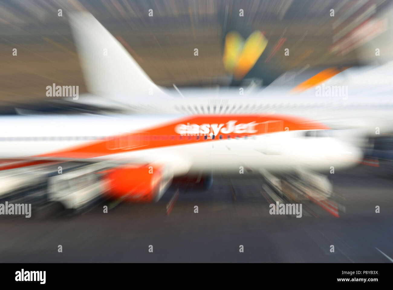 Berlin, Germany, Dynamik, Airbus A320 of the airline easyJet on the apron of the airport Berlin-Tegel - Stock Image
