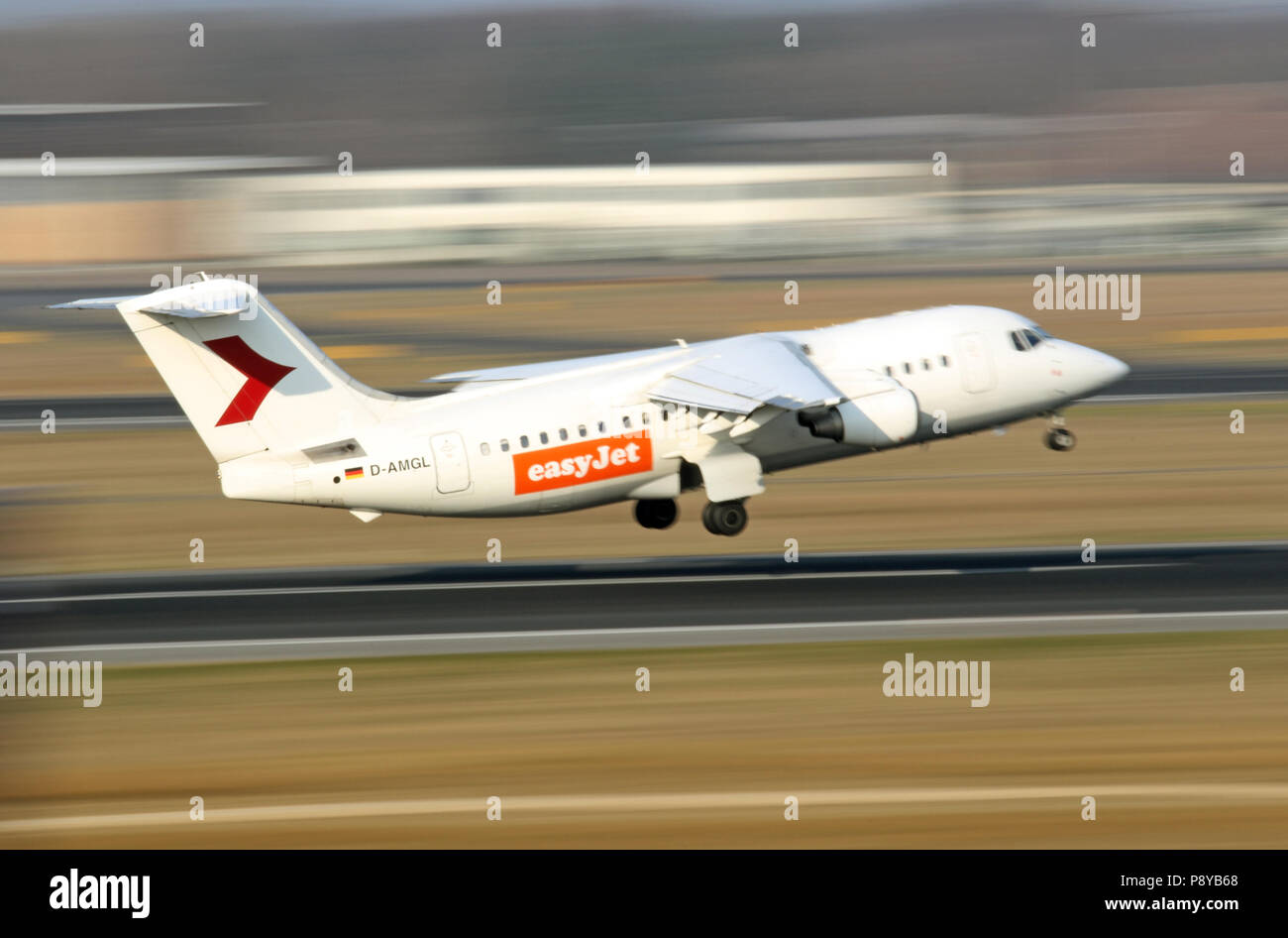 Berlin, Germany, by the airline easyJet leased British Aerospace 146-200 WDL Aviation at the start - Stock Image