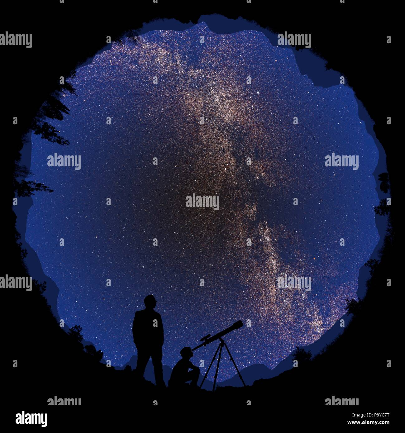 Illustration of a 360-degree view of a pair of astronomers observing the night sky. - Stock Image