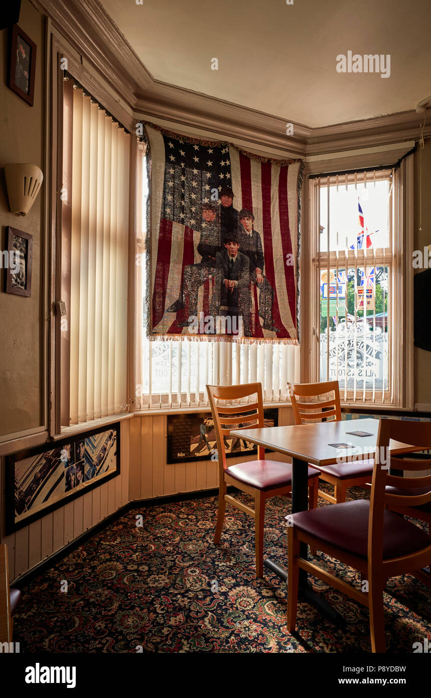 Beatles memorabilia in the Railway Inn pub, Nantwich - Stock Image