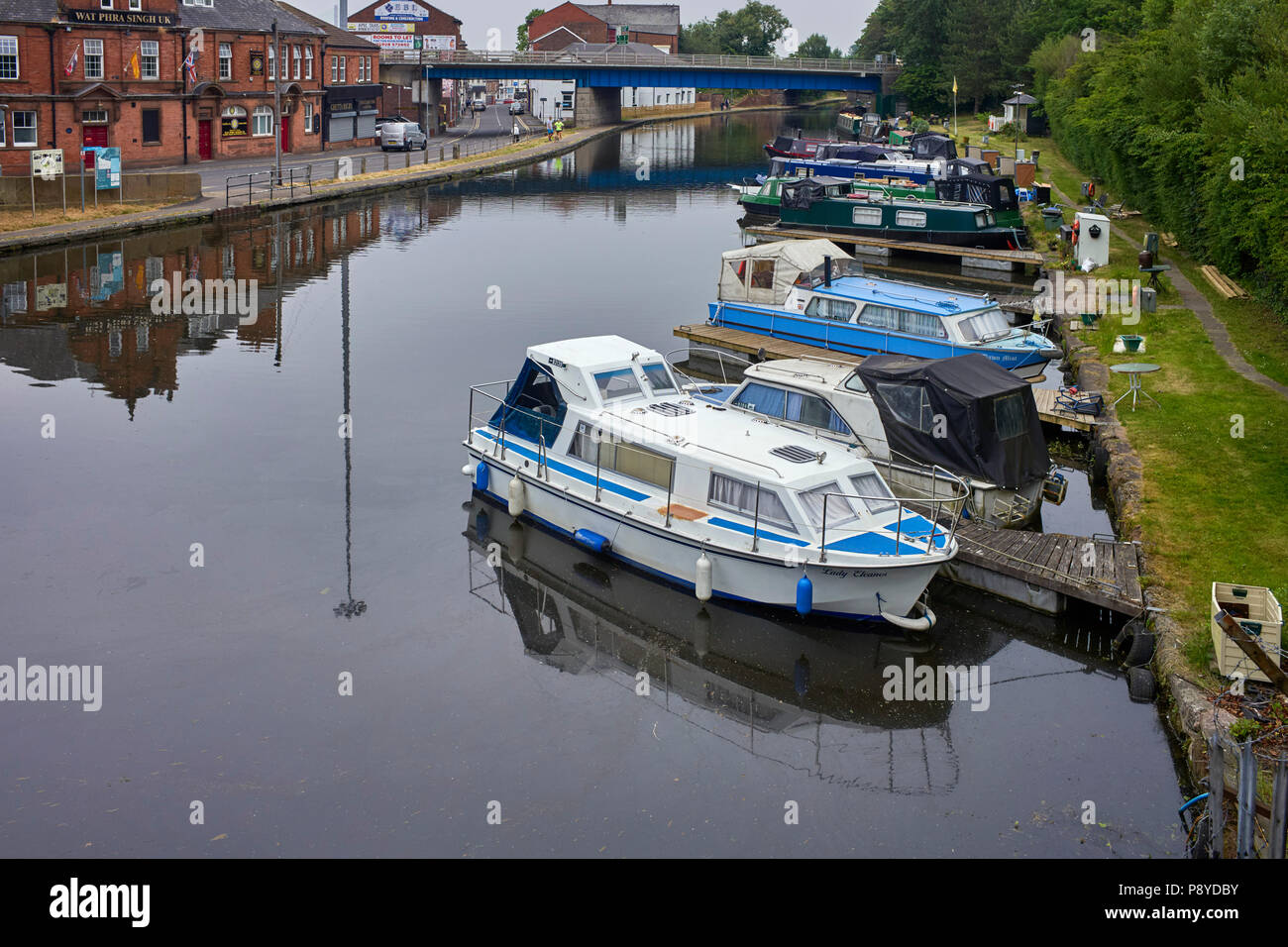 The basin end of the Bridgewater canal at Runcorn in Cheshire - Stock Image