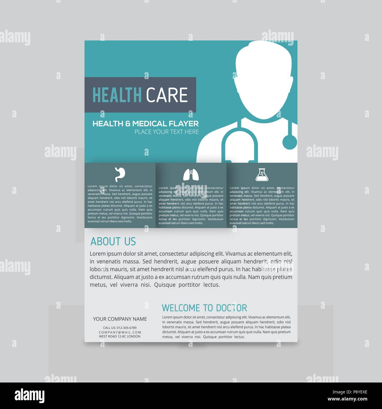 green and blue boxes with white doctor silhouette medical flyer