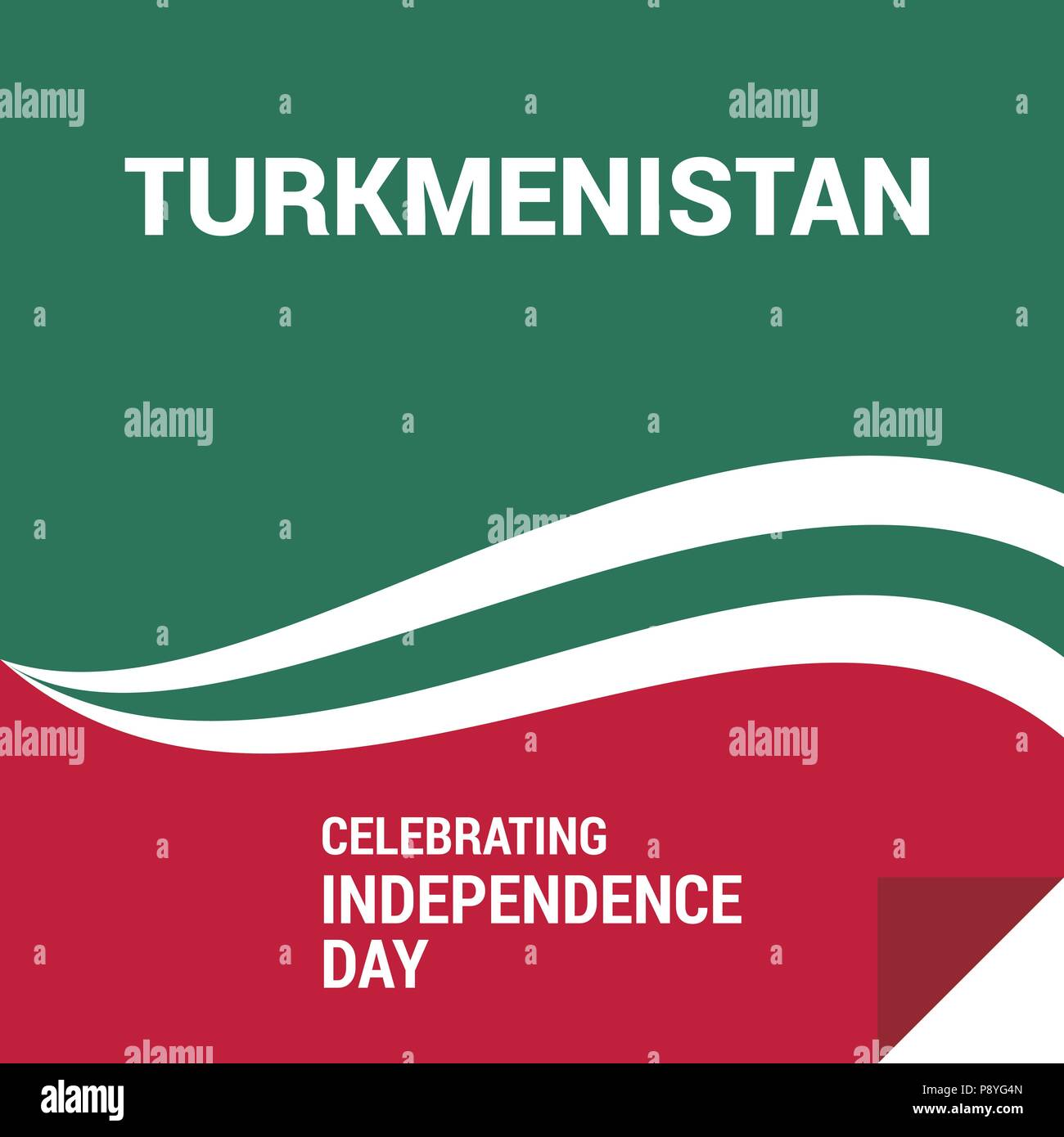 waving flag of Turkmenistan. Template for independence day. vector illustration. For web design and application interface, also useful for infographic Stock Vector
