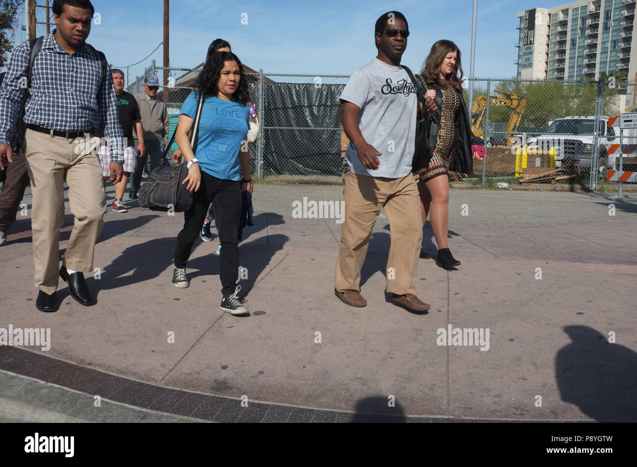 Los Angeles, USA - July 29: Unidentified random people in the streets of Downtown of Los Angeles, CA on July 29, 2018. - Stock Image