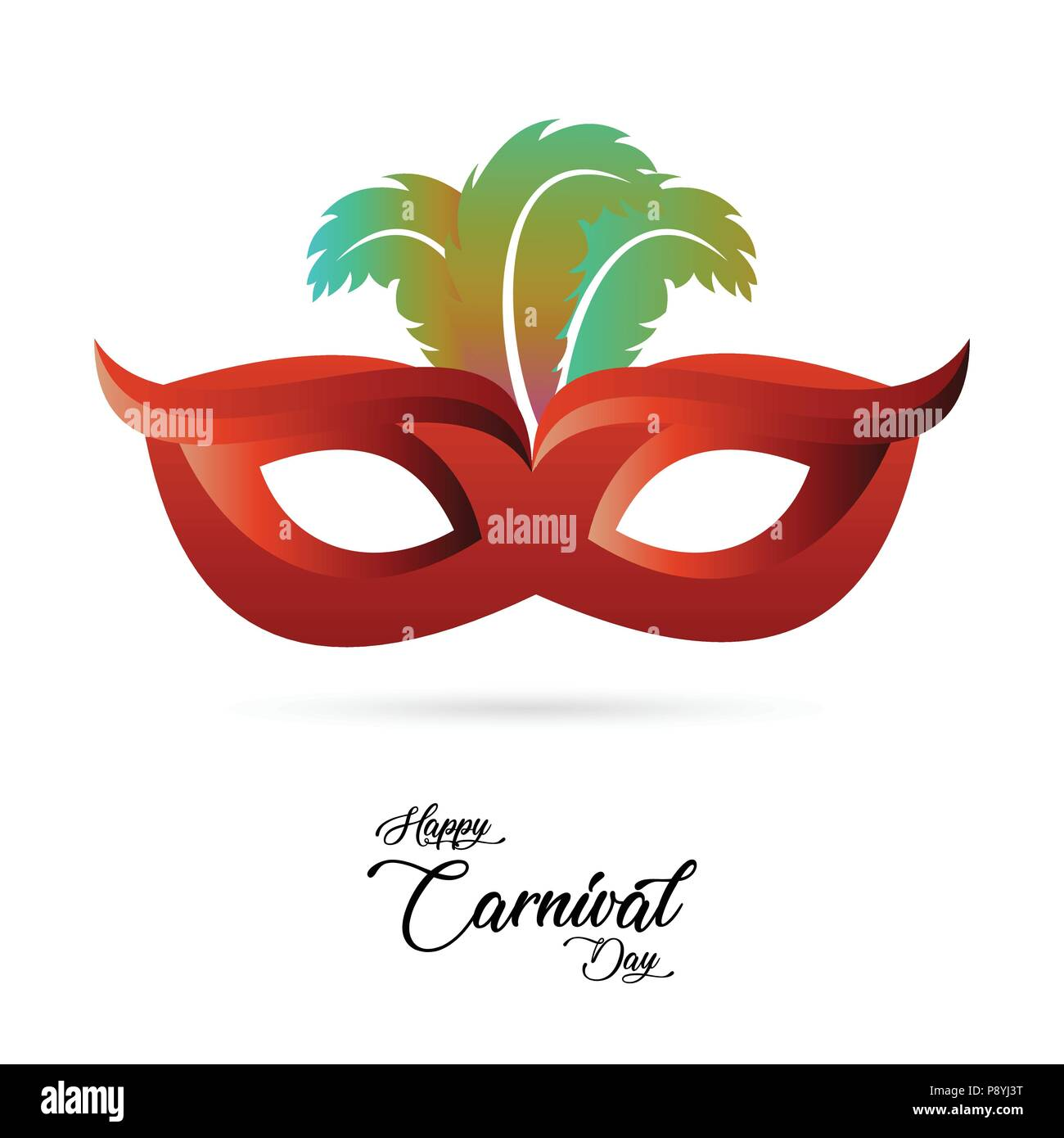 red carnival mask with colorful feathers and black typography on ...