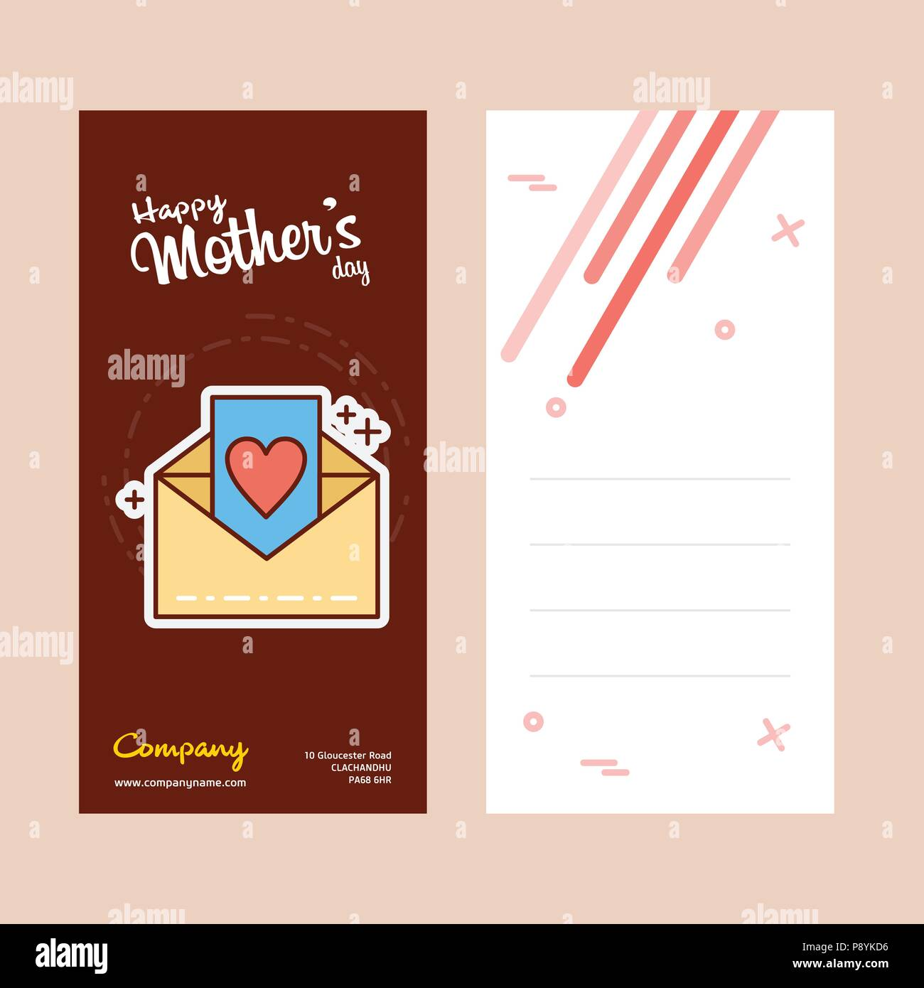 mothers day card with letter logo and pink theme vector for web design and application