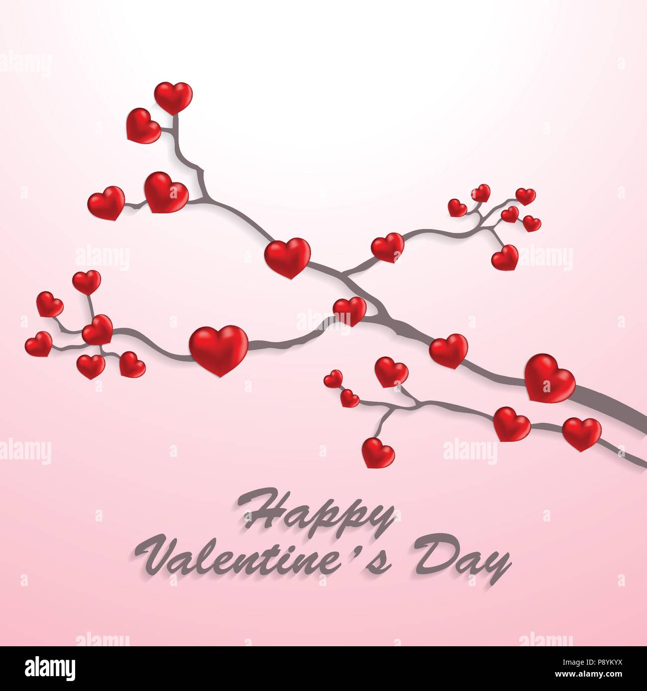 Happy Valentine S Day Card With Hearts Tree For Web Design And Application Interface Also Useful For Infographics Vector Illustration Stock Vector Image Art Alamy