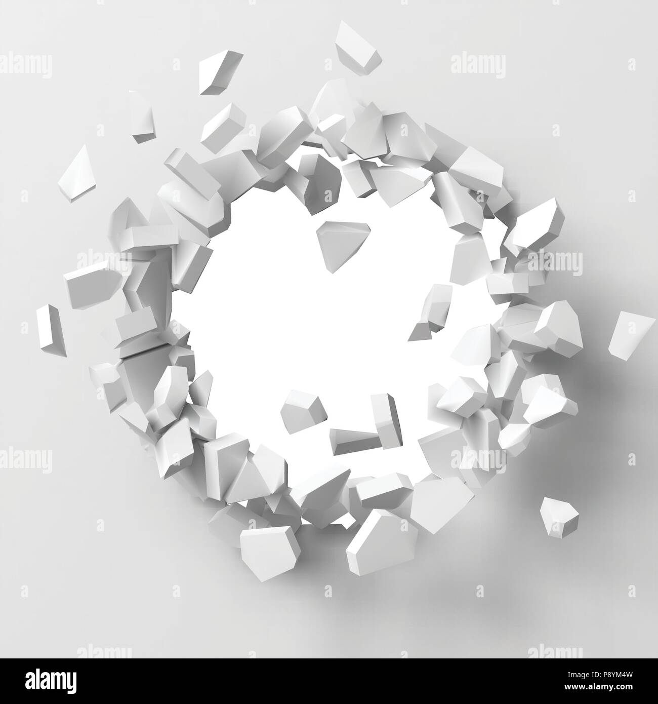 vector illustration of exploding wall with free area on center for any object or background Stock Vector