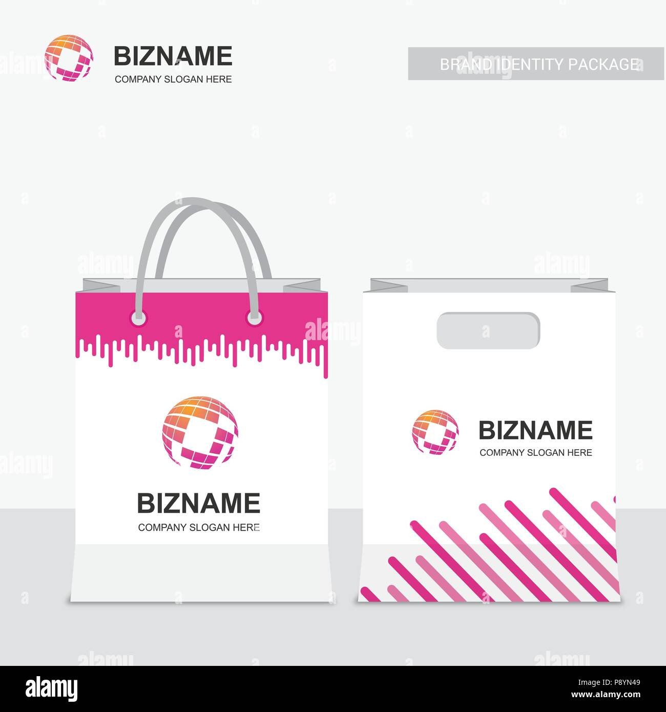 Company shopping bags design vector with creative design with world company shopping bags design vector with creative design with world map logo for web design and application interface also useful for infographics gumiabroncs Image collections