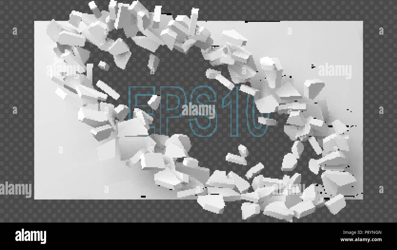 vector illustration of exploding wall with free area on center for any object or background - Stock Image