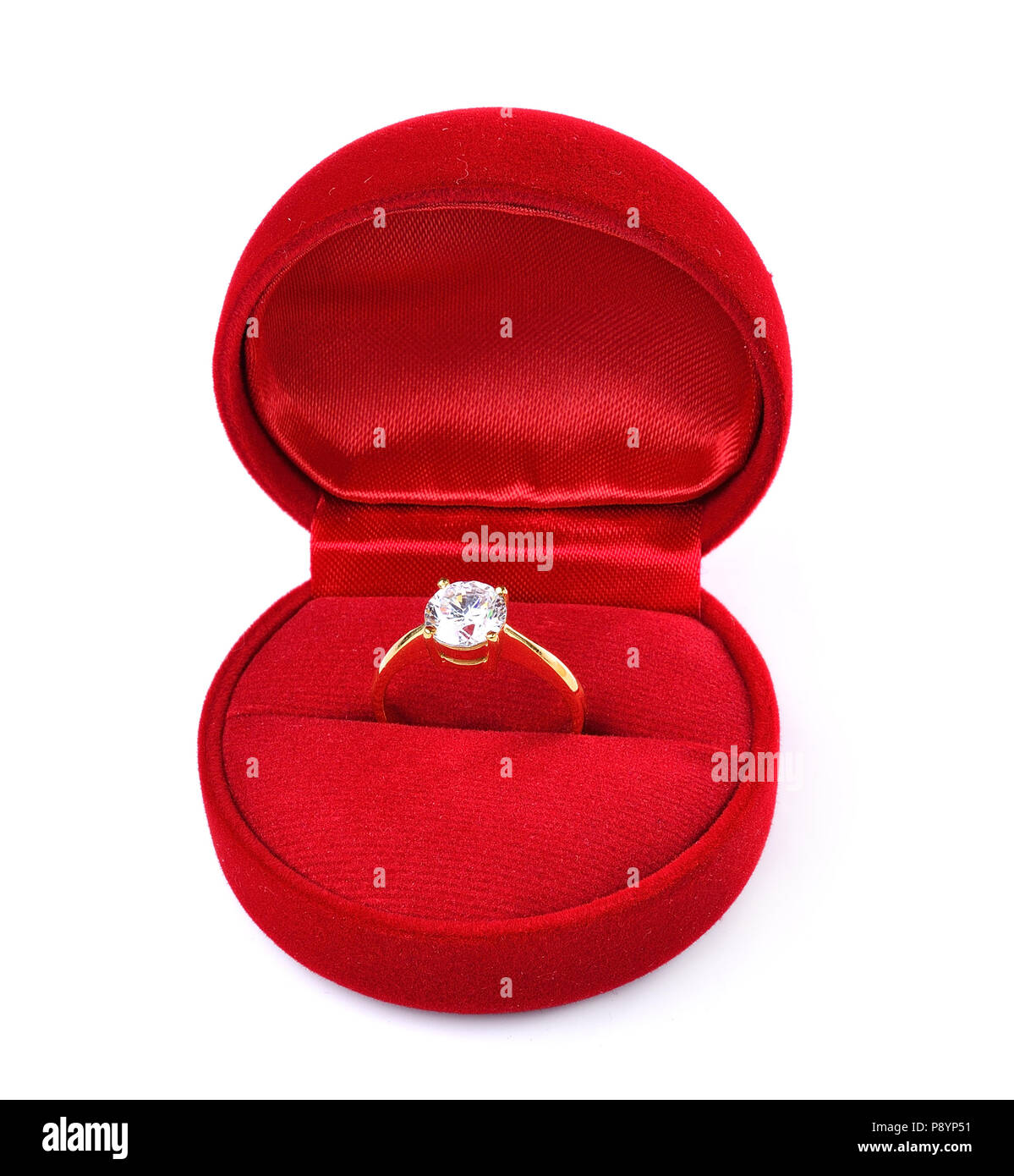 29ceeabe2 Diamond ring in red box isolated on white background Stock Photo ...