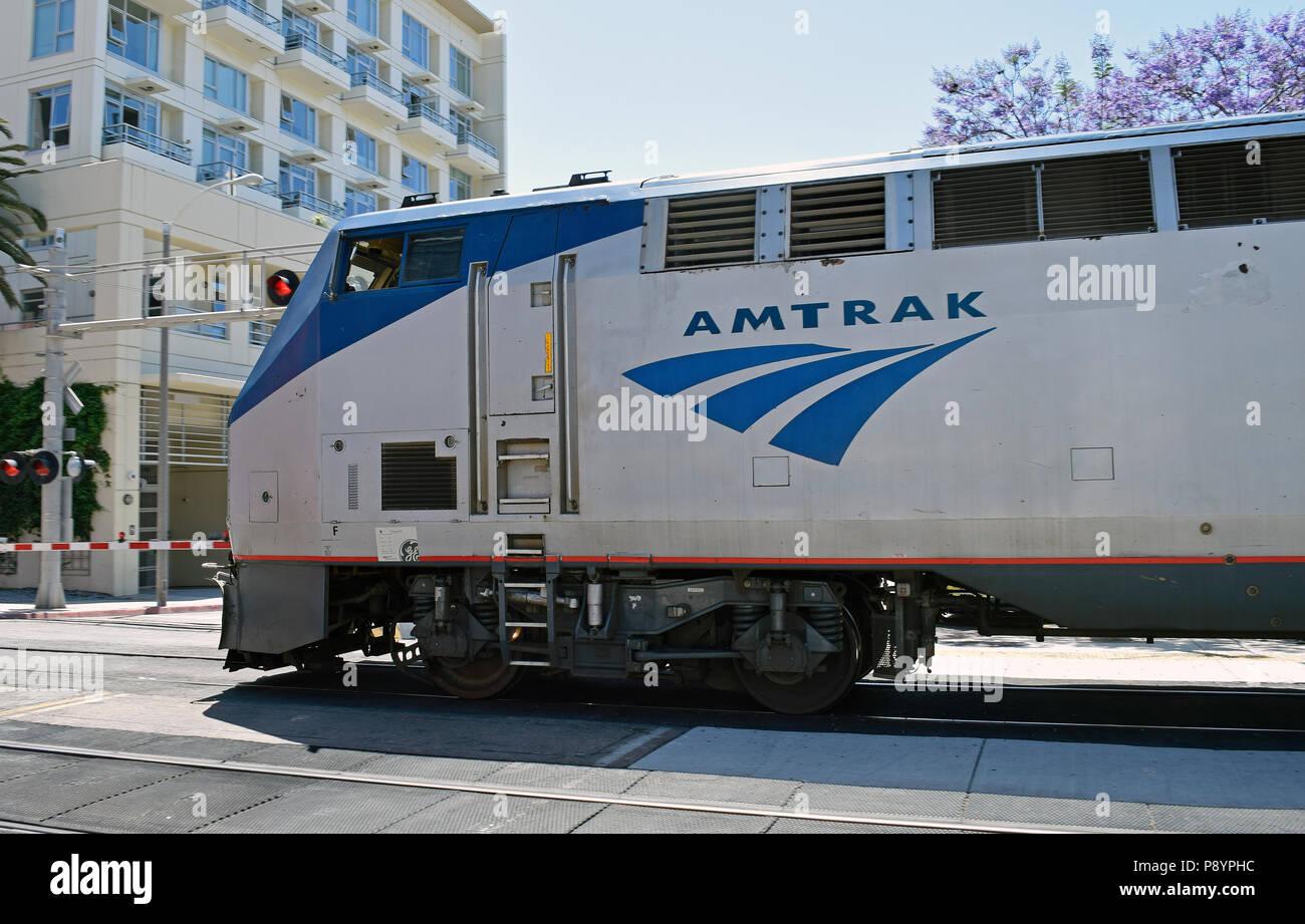 Amtrak train, downtown San Diego, California - Stock Image