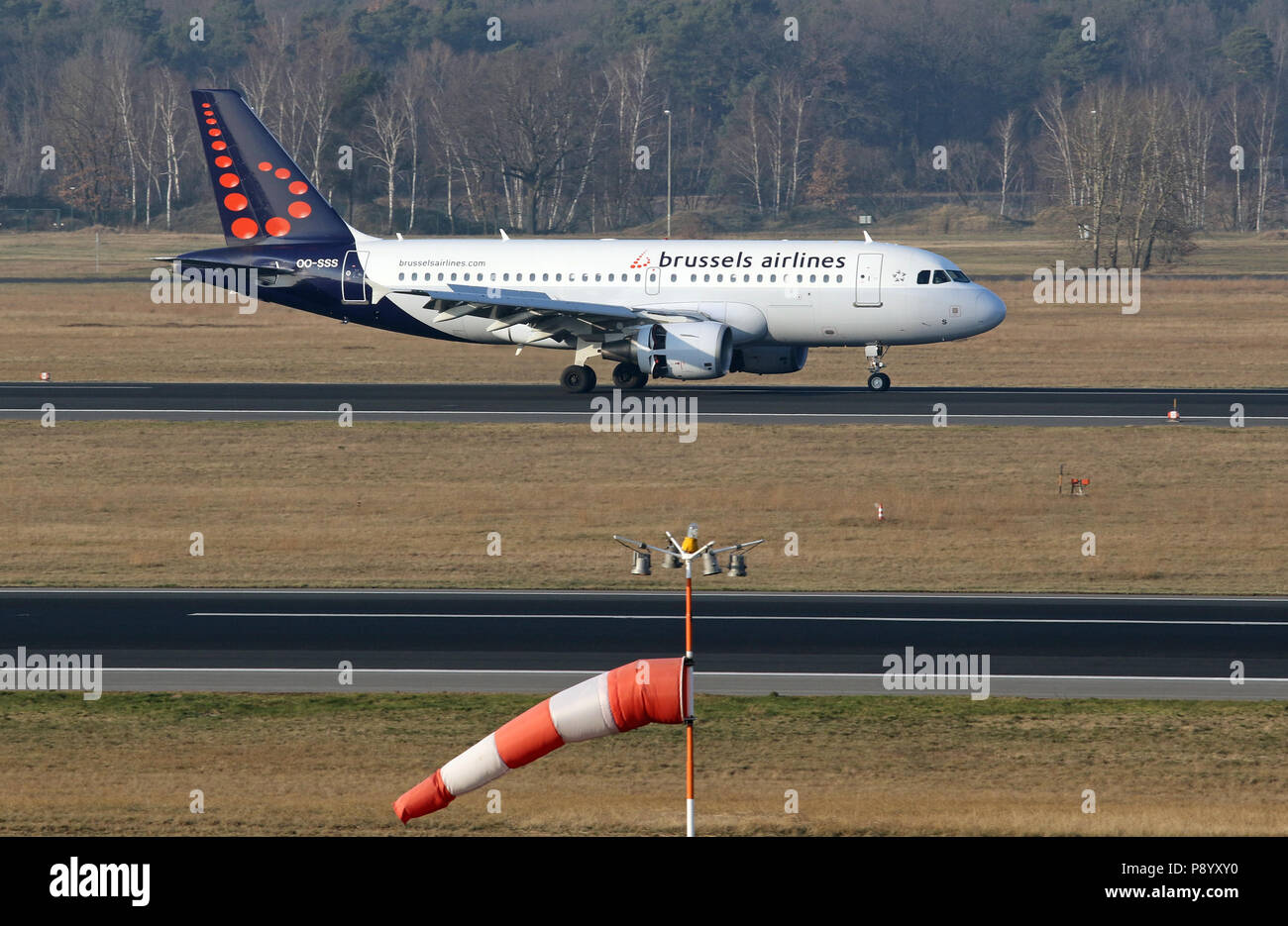 Berlin, Germany, Airbus A319 of the airline Brussels Airlines on the runway of the airport Berlin-Tegel - Stock Image