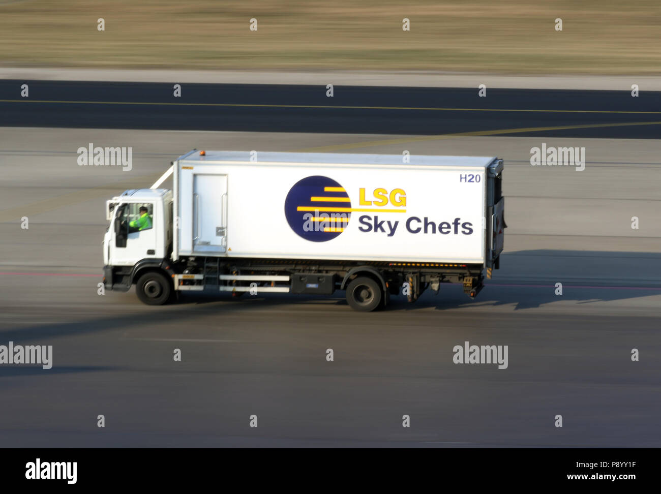 Berlin, Germany, LSG Sky Chefs truck on the apron of Berlin Tegel Airport - Stock Image