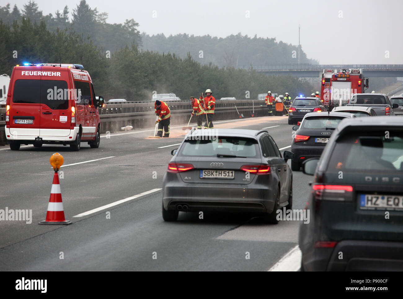 Allersberg, Germany, Firefighters eliminate after a car accident on