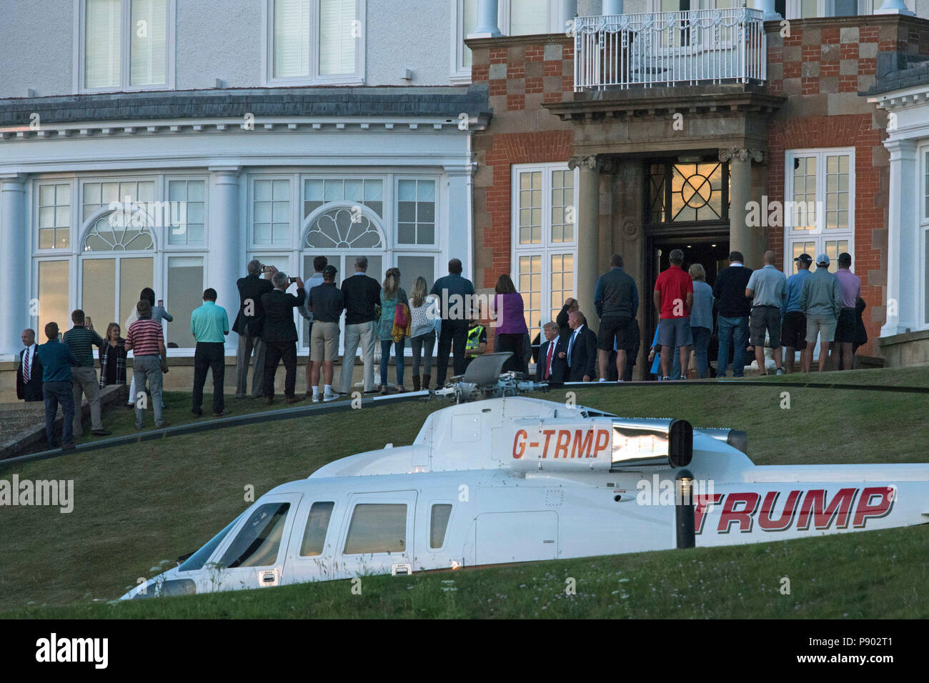 US President Donald Trump greets hotel guests after arriving at the Trump Turnberry resort in South Ayrshire, where he is expected to stay over the weekend. Stock Photo