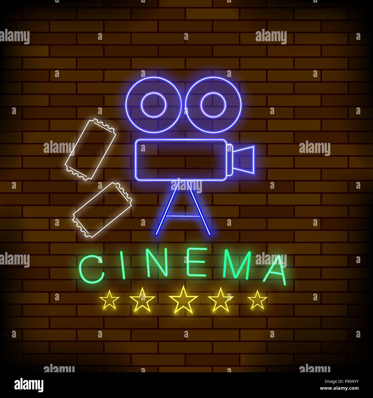 Cinema Light Neon Sign. Colored Signboard. Bright Street Banner. - Stock Vector