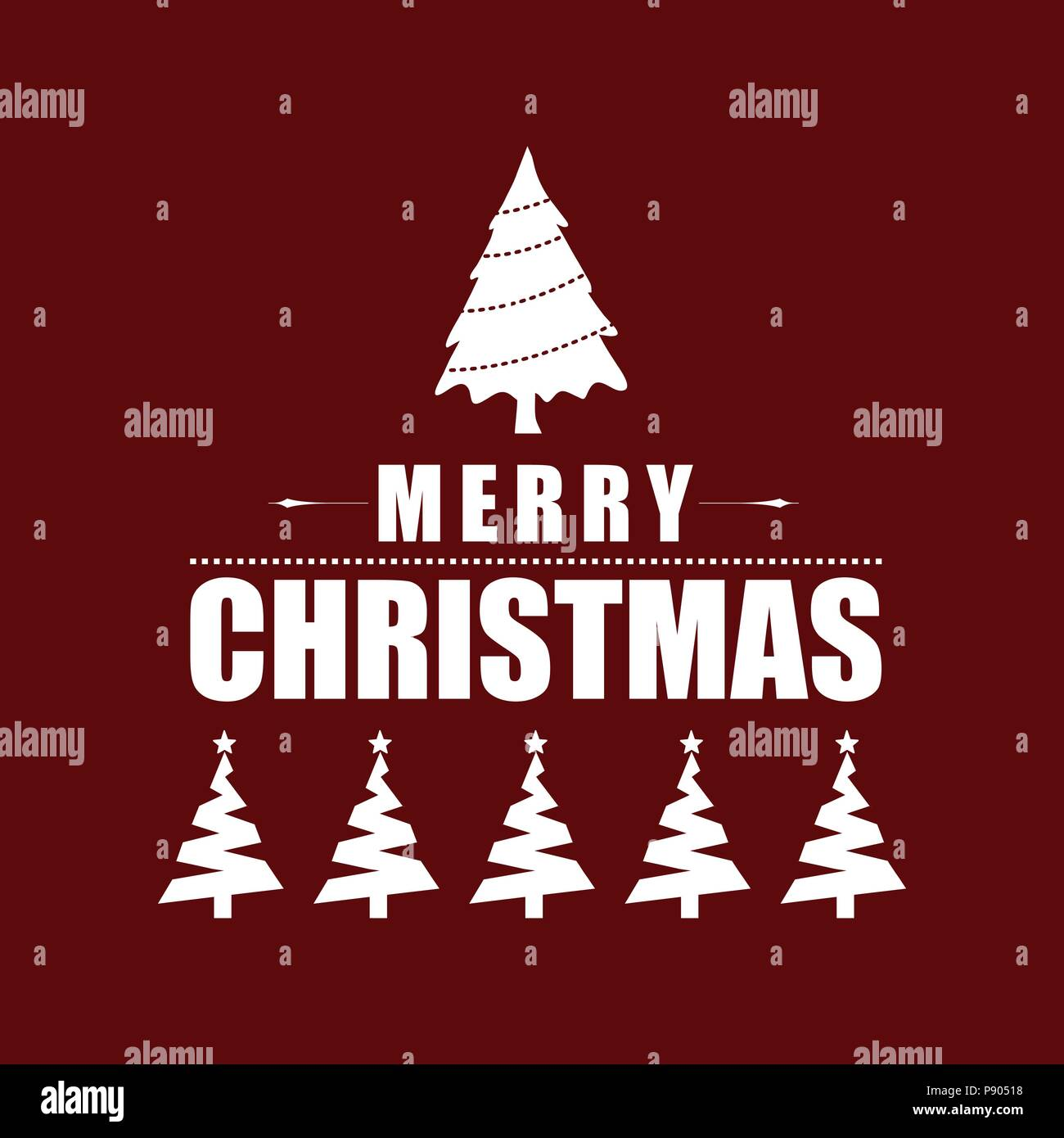 Christmas Greetings Card With Red Background Simple Typography And