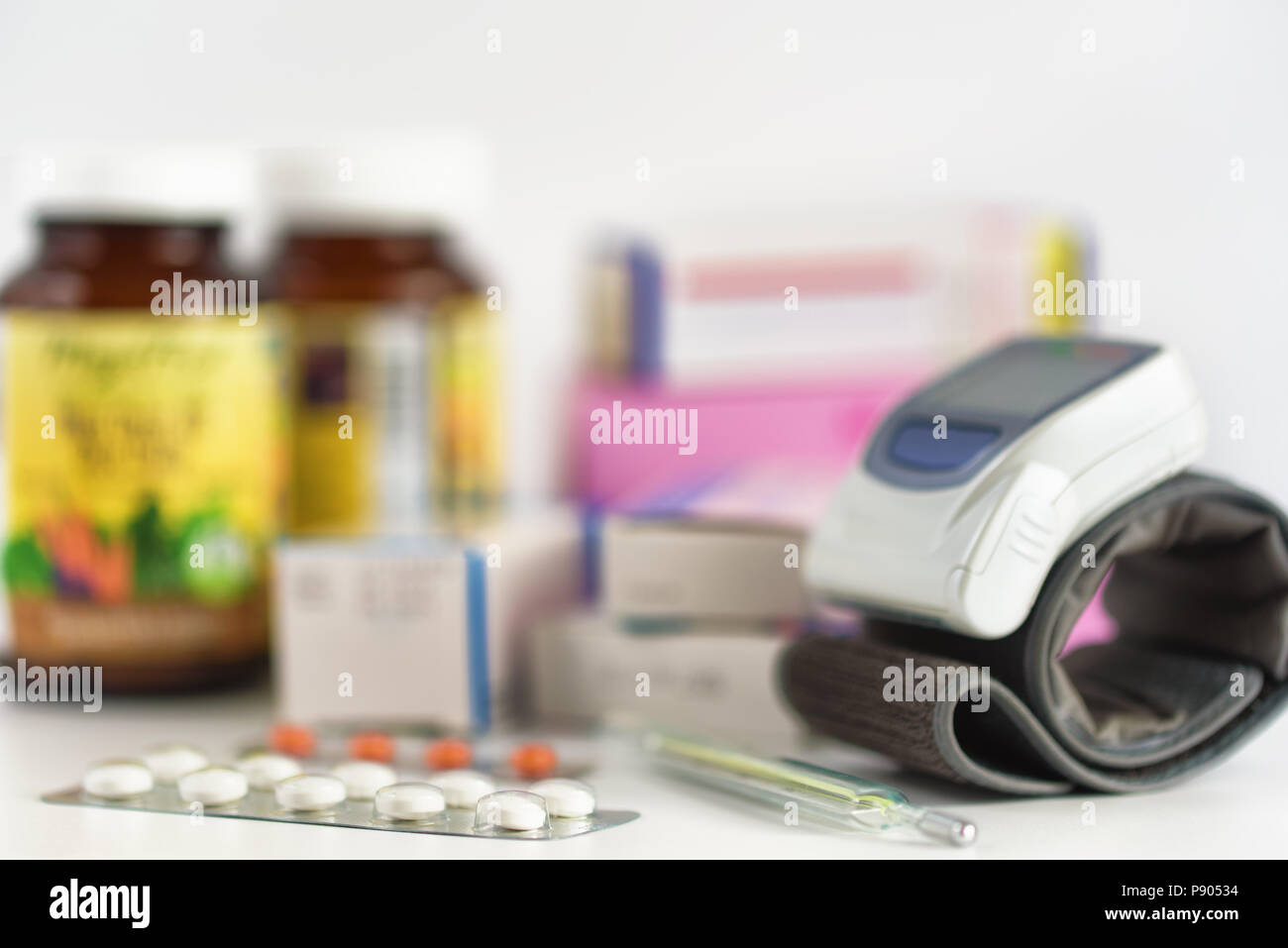 Medicine on the table. Pills and tablets. Medical concept - Stock Image