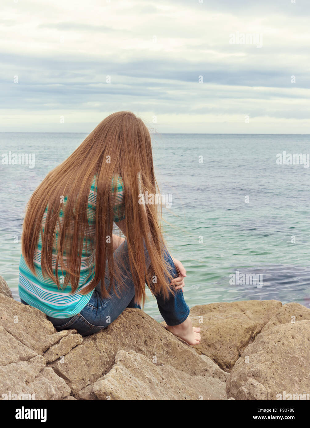 sad girl sitting lonely woman is sad stock photo 212062040 alamy