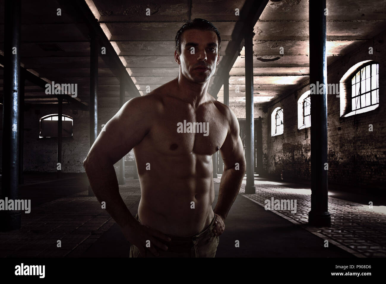 0688d57a7 Bodybuilding, young man muscular, fit male big muscles fitness, crossfit -  Stock Image