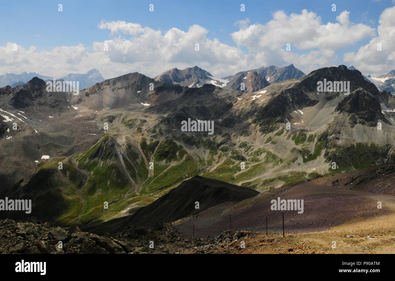Melting Permafrost due to global clima change at Julier, Upper Engadin, Graubünden, Swiss Alps - Stock Image