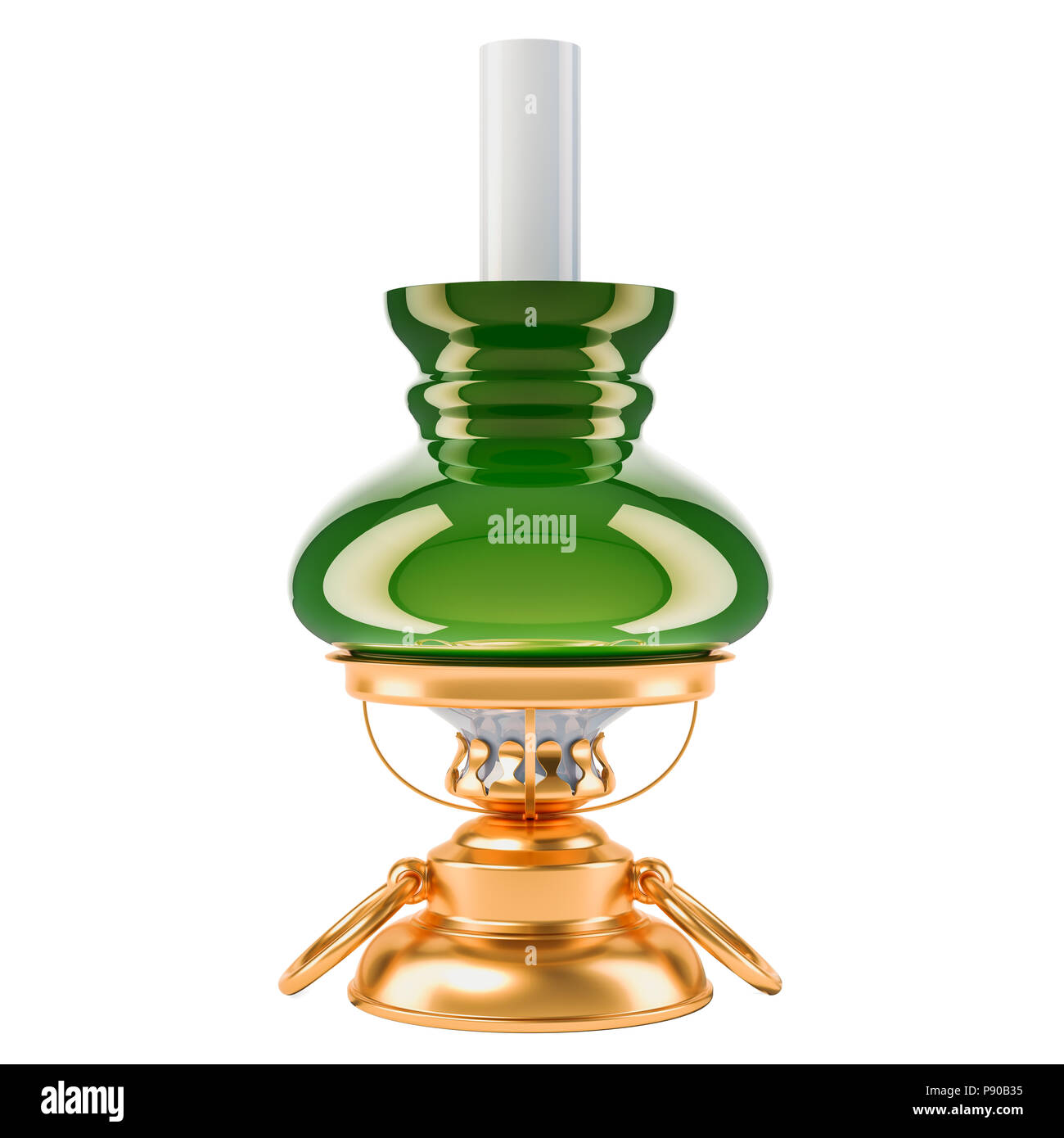 Kerosene lamp, 3D rendering isolated on black background - Stock Image