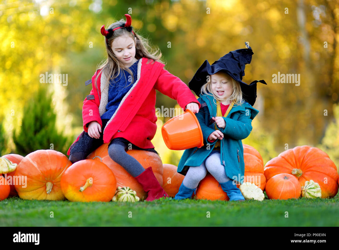 adorable little girls wearing halloween costume having fun on a pumpkin patch on beautiful autumn day