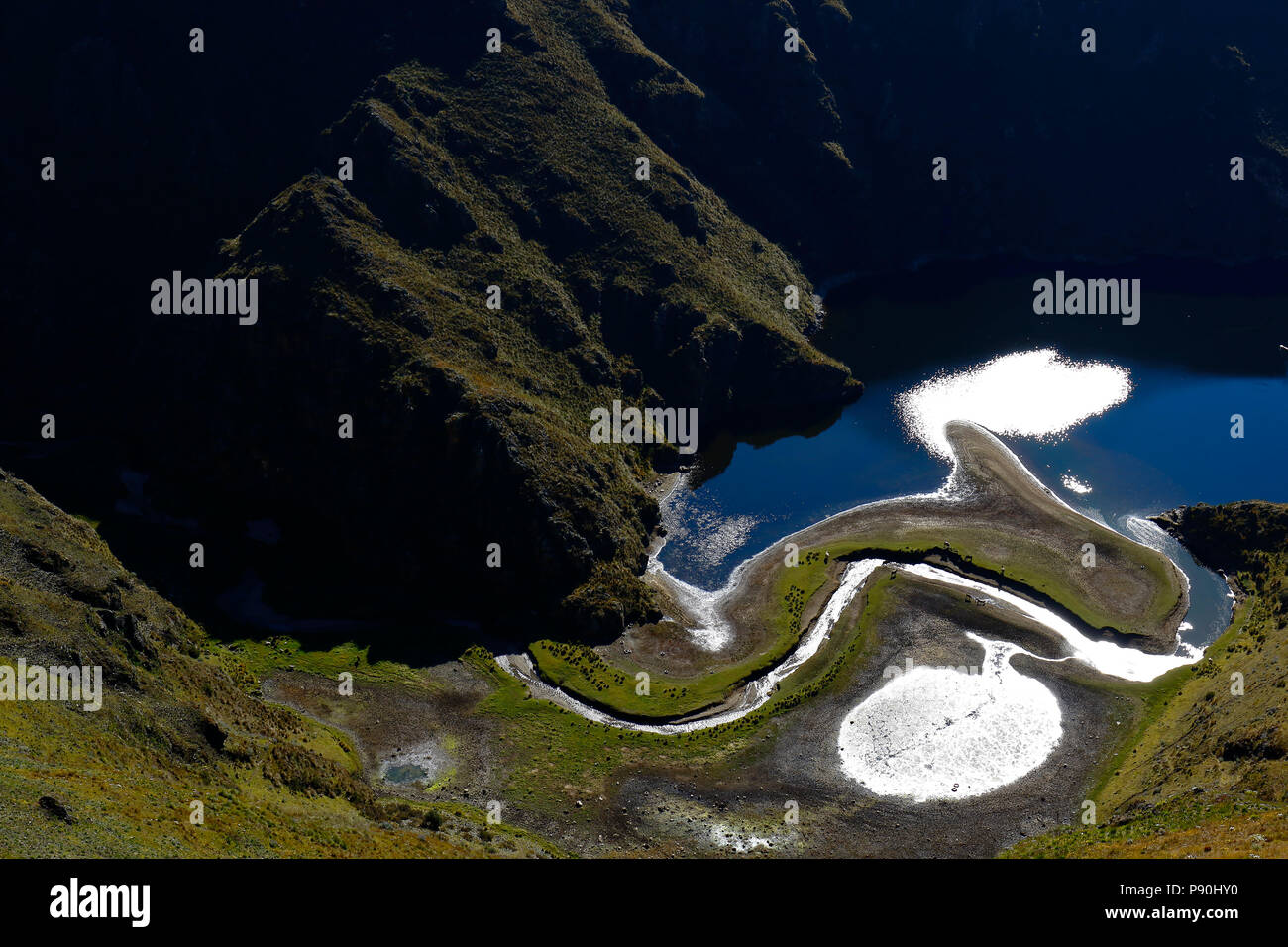 detail of high Andean lagoon located between the hills in the central mountain range of the Andes in Huancavelica. Huancavelica - Perú - Stock Image